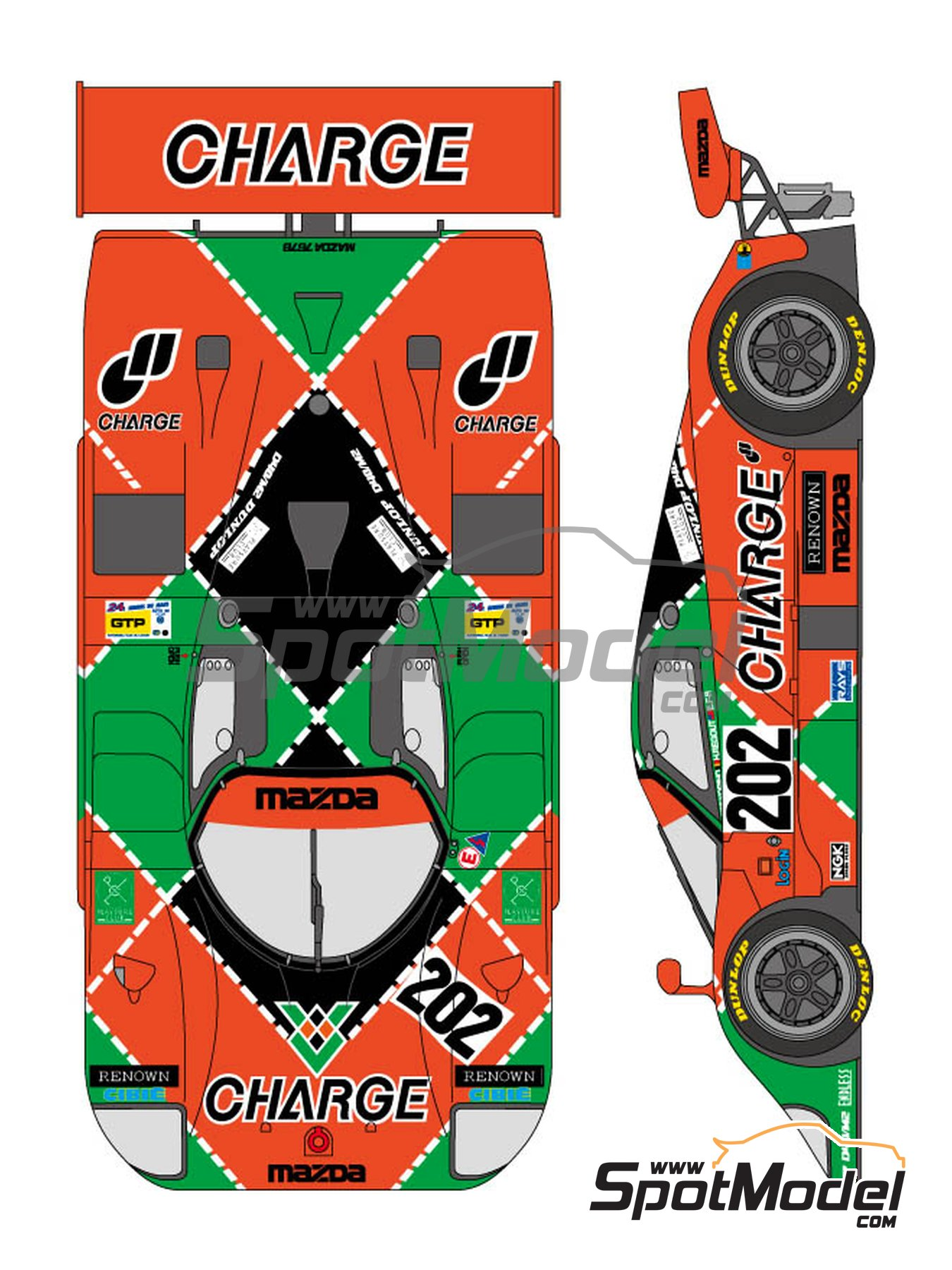 Mazda 767B Charge - 24 Hours Le Mans 1989 | Marking / livery in 1/24 scale manufactured by Shunko Models (ref. SHK-D304) image