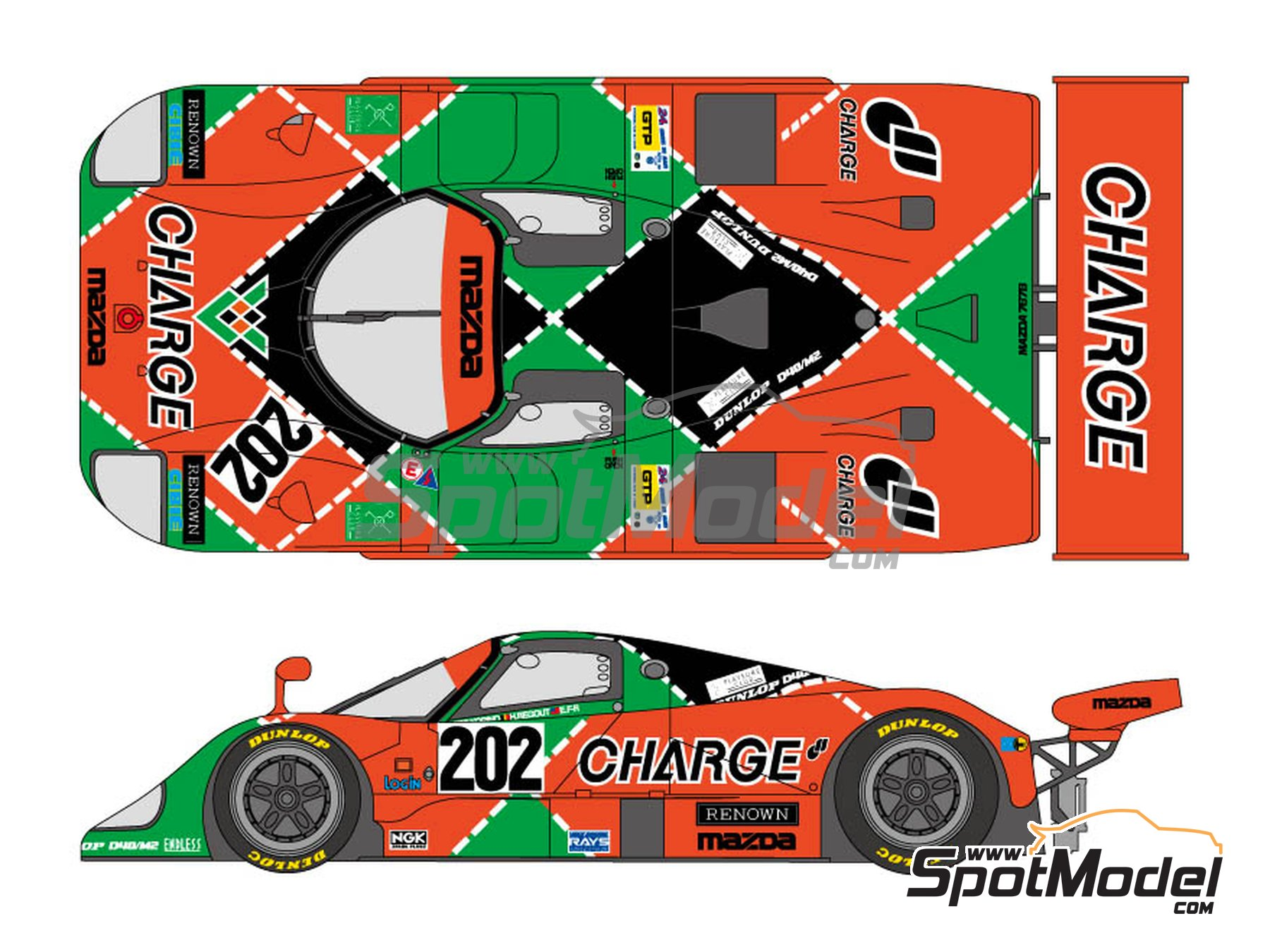 Image 1: Mazda 767B Charge - 24 Hours Le Mans 1989 | Marking / livery in 1/24 scale manufactured by Shunko Models (ref. SHK-D304)