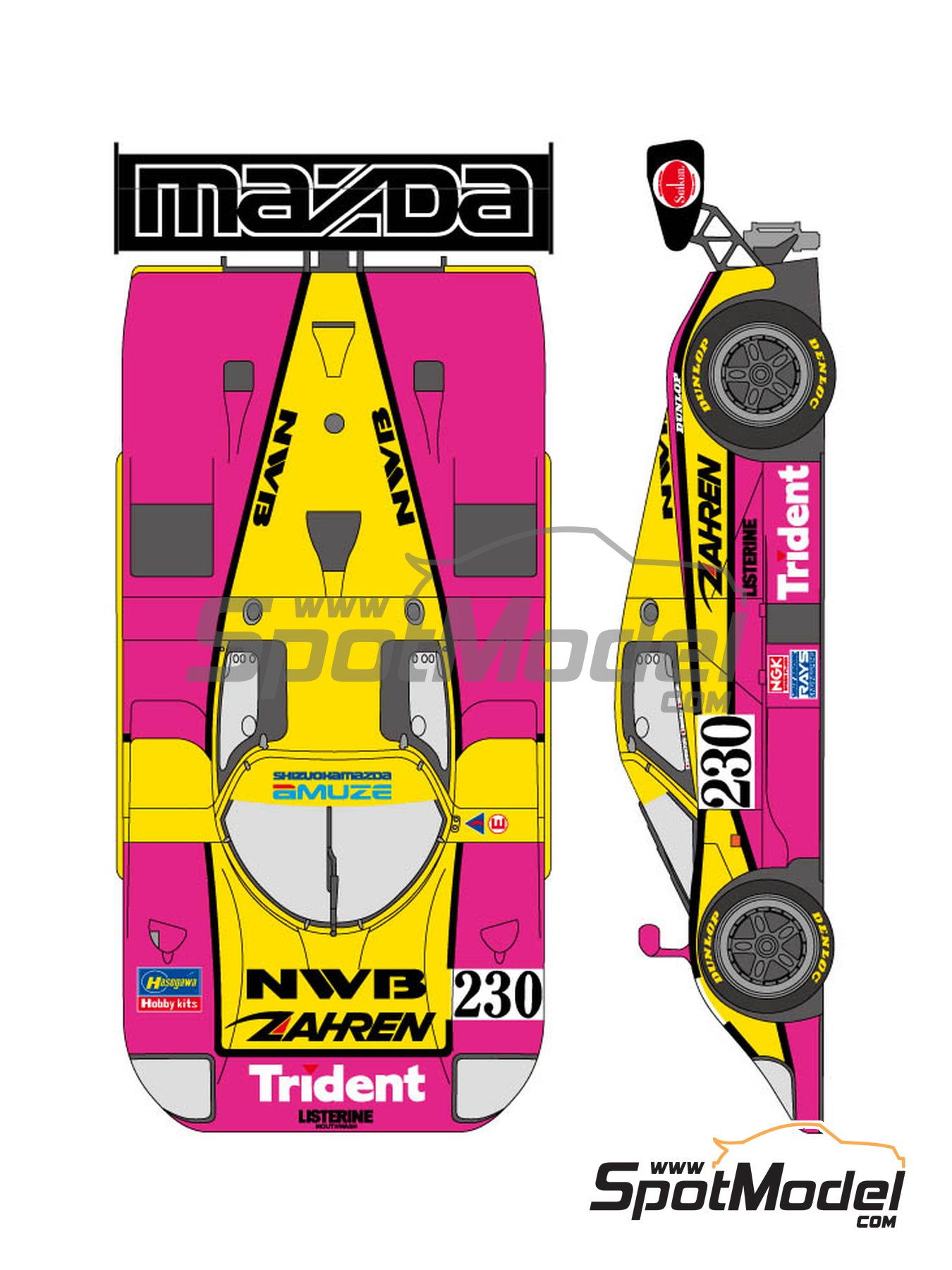 Mazda 767B NWB - 24 Hours Le Mans 1992 | Marking / livery in 1/24 scale manufactured by Shunko Models (ref. SHK-D306) image