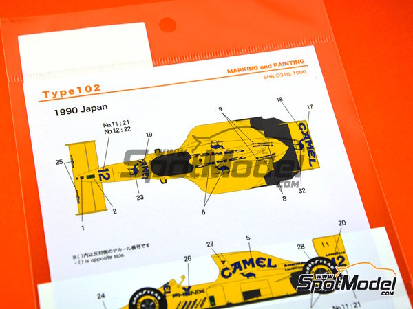 Image 2: Lotus Ford Type 102D Camel - Japan Grand Prix 1992 | Marking / livery in 1/20 scale manufactured by Shunko Models (ref. SHK-D310)