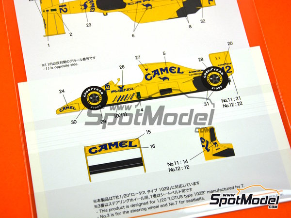 Image 3: Lotus Ford Type 102D Camel - Japan Grand Prix 1992 | Marking / livery in 1/20 scale manufactured by Shunko Models (ref. SHK-D310)
