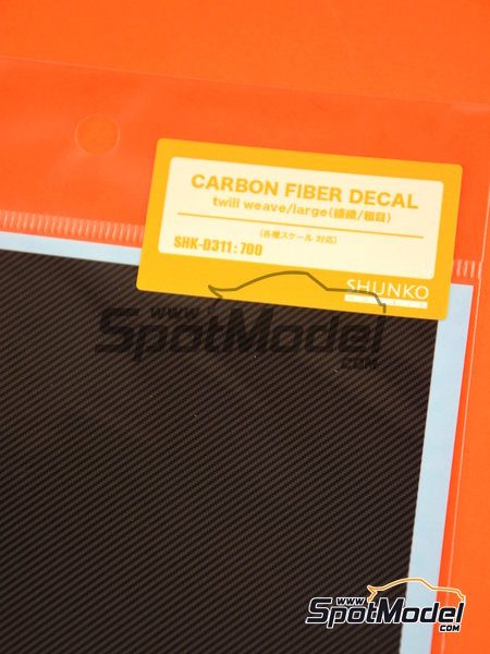 Large carbon fiber twill weave | Decals in 1/12 scale manufactured by Shunko Models (ref.SHK-D311) image