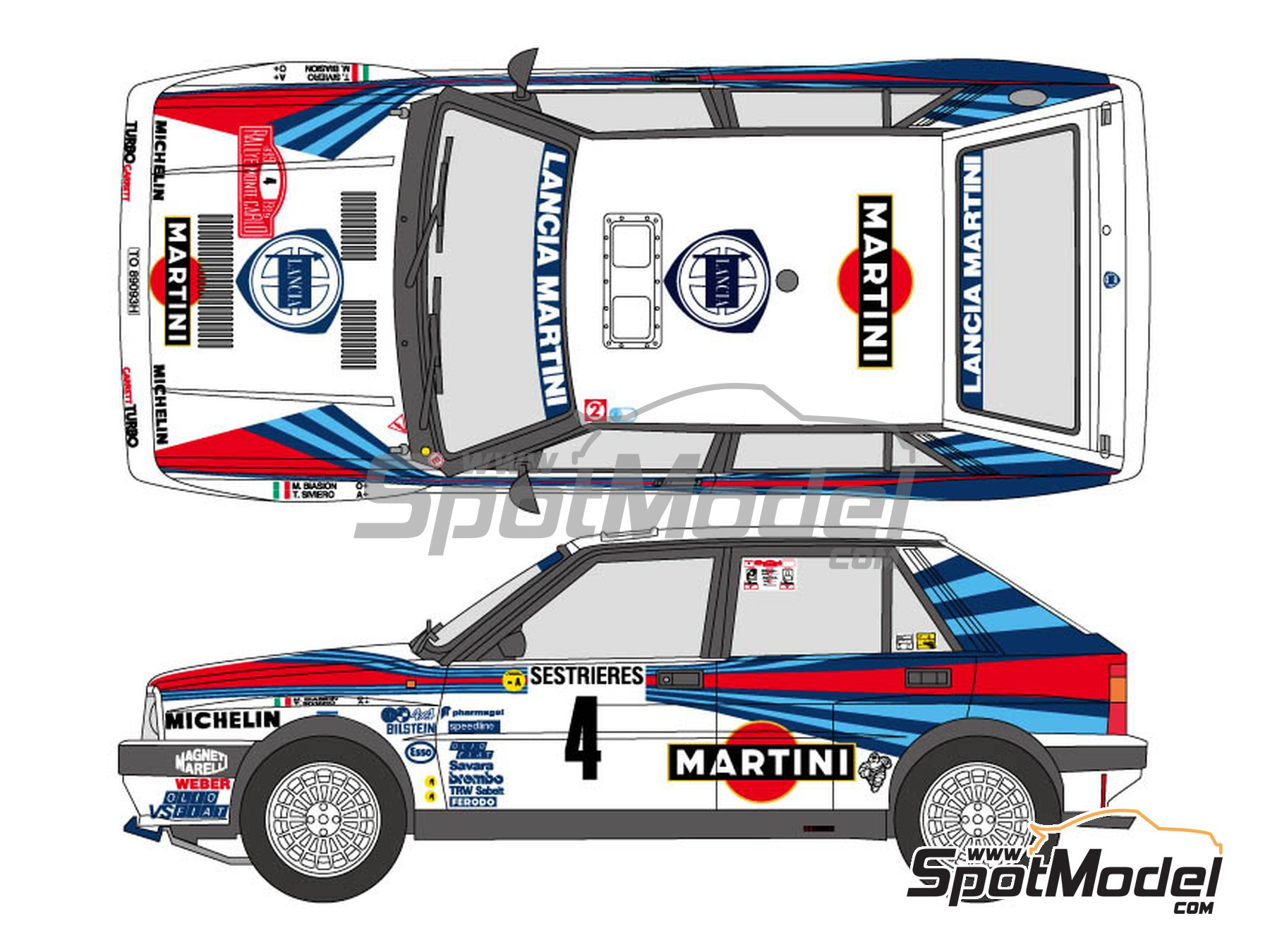 Image 1: Lancia Delta HF Integrale 8V - Montecarlo Rally 1989 | Marking / livery in 1/24 scale manufactured by Shunko Models (ref. SHK-D321)