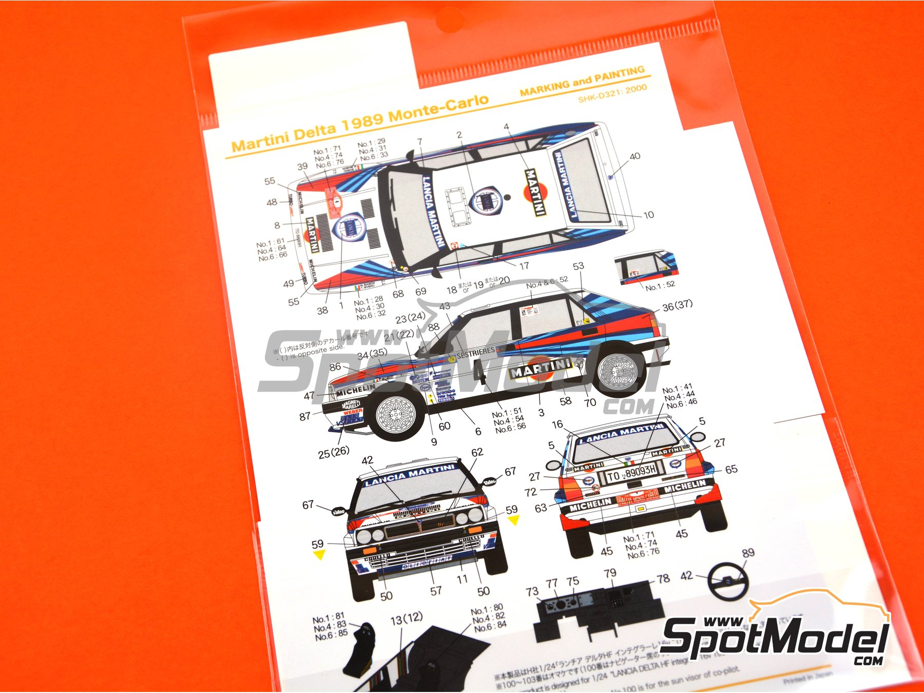 Image 5: Lancia Delta HF Integrale 8V - Montecarlo Rally 1989 | Marking / livery in 1/24 scale manufactured by Shunko Models (ref. SHK-D321)