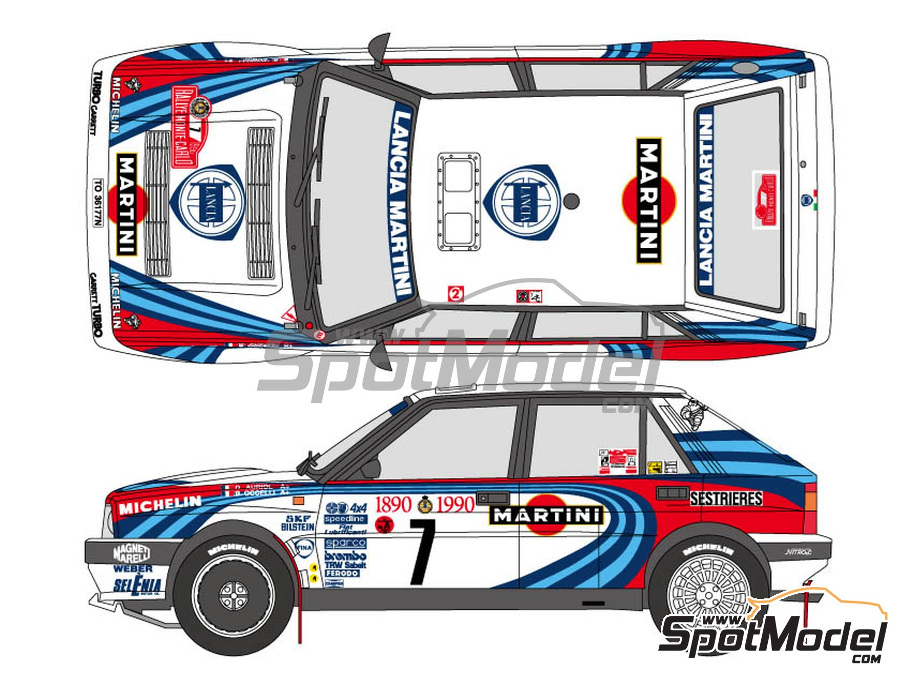 Image 1: Lancia Delta HF Integrale 16V Martini - Montecarlo Rally 1990 | Marking / livery in 1/24 scale manufactured by Shunko Models (ref. SHK-D322)