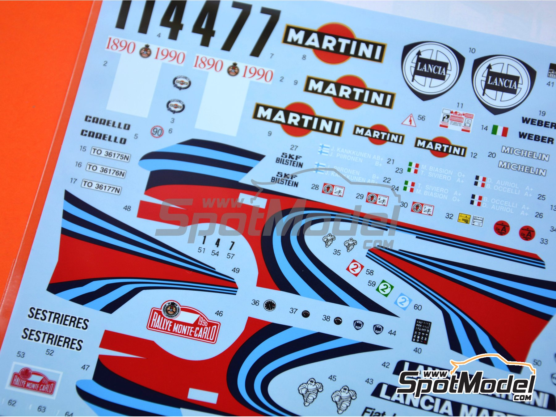 Image 3: Lancia Delta HF Integrale 16V Martini - Montecarlo Rally 1990 | Marking / livery in 1/24 scale manufactured by Shunko Models (ref. SHK-D322)