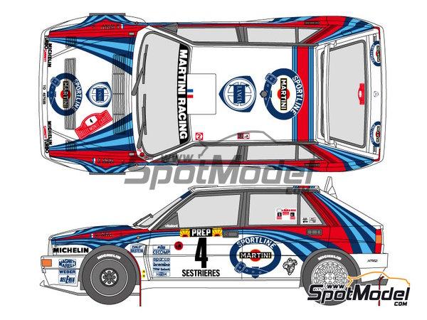 Image 1: Lancia Super Delta HF Integrale Martini - Rally de Montecarlo, Rally Tour de Corse 1992 | Decoración en escala1/24 fabricado por Shunko Models (ref.SHK-D323)