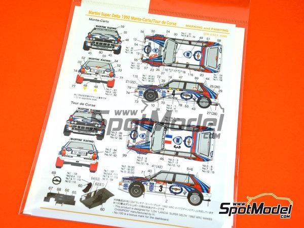 Image 2: Lancia Super Delta HF Integrale Martini - Rally de Montecarlo, Rally Tour de Corse 1992 | Decoración en escala1/24 fabricado por Shunko Models (ref.SHK-D323)