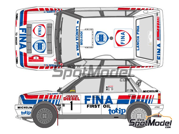 Image 1: Lancia Delta HF 16v Fina - Sanremo Rally 1991 | Marking / livery in 1/24 scale manufactured by Shunko Models (ref. SHK-D324)