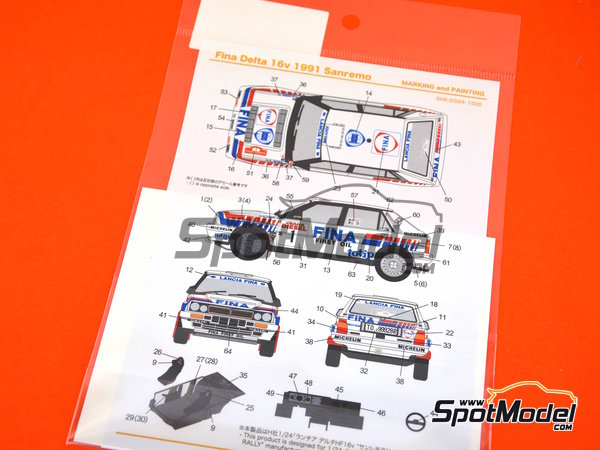 Image 4: Lancia Delta HF 16v Fina - Sanremo Rally 1991 | Marking / livery in 1/24 scale manufactured by Shunko Models (ref. SHK-D324)