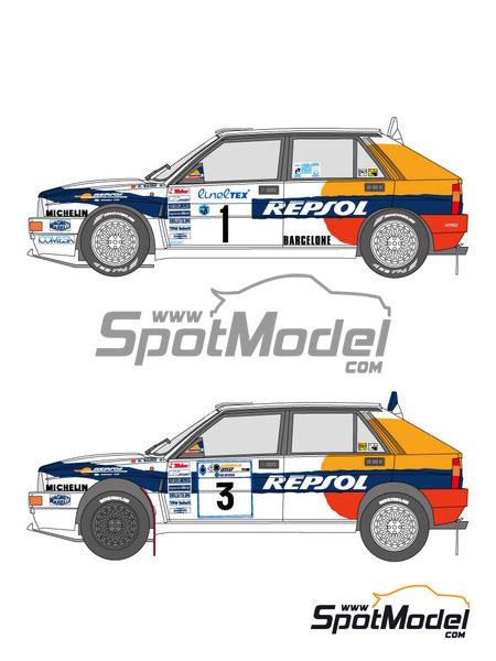 Lancia Delta HF 16v Repsol - Rally de Acropolis, Rally de Montecarlo 1993 | Decoración en escala1/24 fabricado por Shunko Models (ref.SHK-D325) image