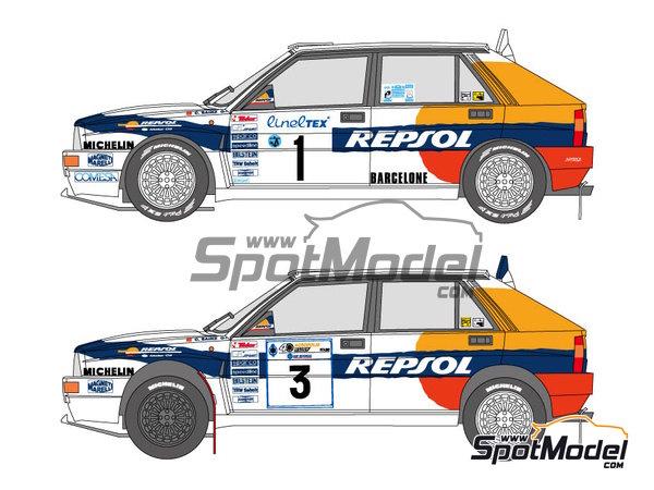 Image 1: Lancia Delta HF 16v Repsol - Rally de Acropolis, Rally de Montecarlo 1993 | Decoración en escala1/24 fabricado por Shunko Models (ref.SHK-D325)