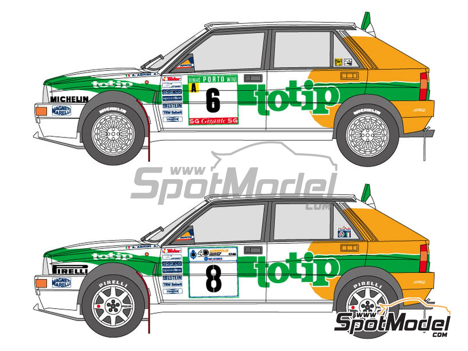 Image 1: Lancia Super Delta Totip - Acropolis rally, Portugal Rally 1993 | Marking / livery in 1/24 scale manufactured by Shunko Models (ref. SHK-D326)