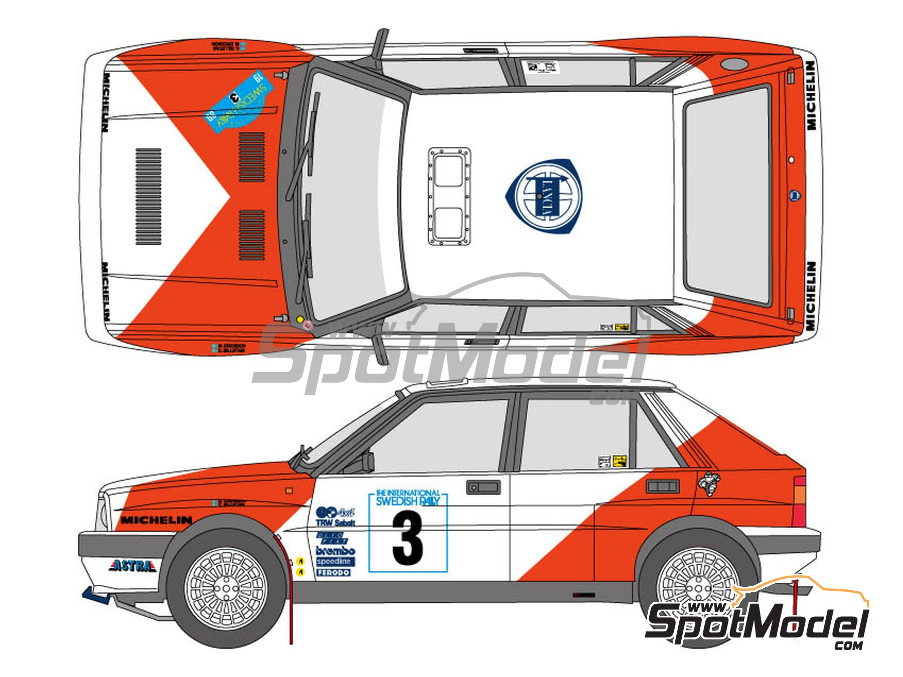 Image 1: Lancia Delta HF Integrale 16v - The International Swedish Rally 1989 | Marking / livery in 1/24 scale manufactured by Shunko Models (ref. SHK-D328)