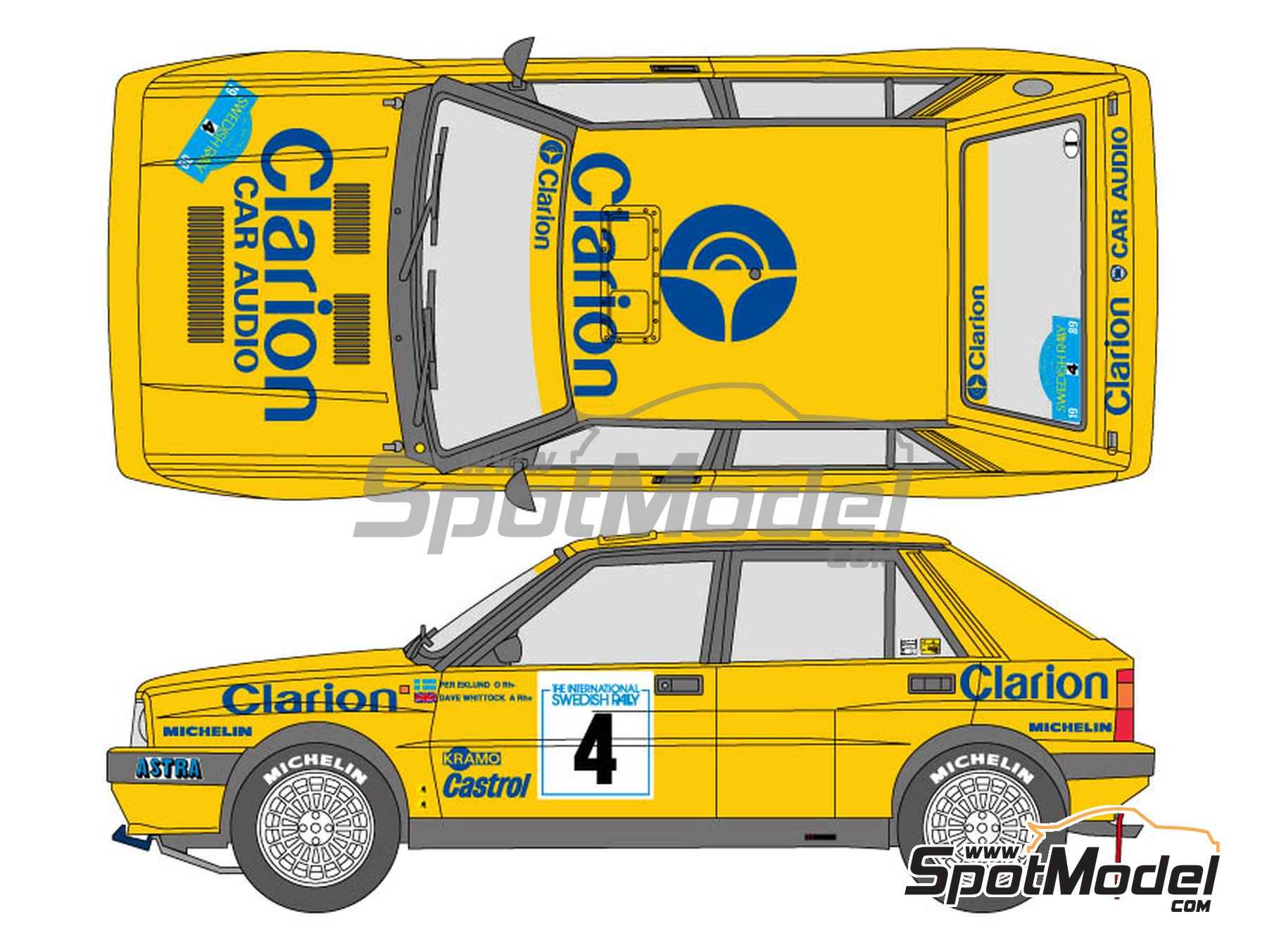 Image 1: Lancia Delta HF Integrale 16v Clarion Camel - The International Swedish Rally 1989 | Marking / livery in 1/24 scale manufactured by Shunko Models (ref. SHK-D329)