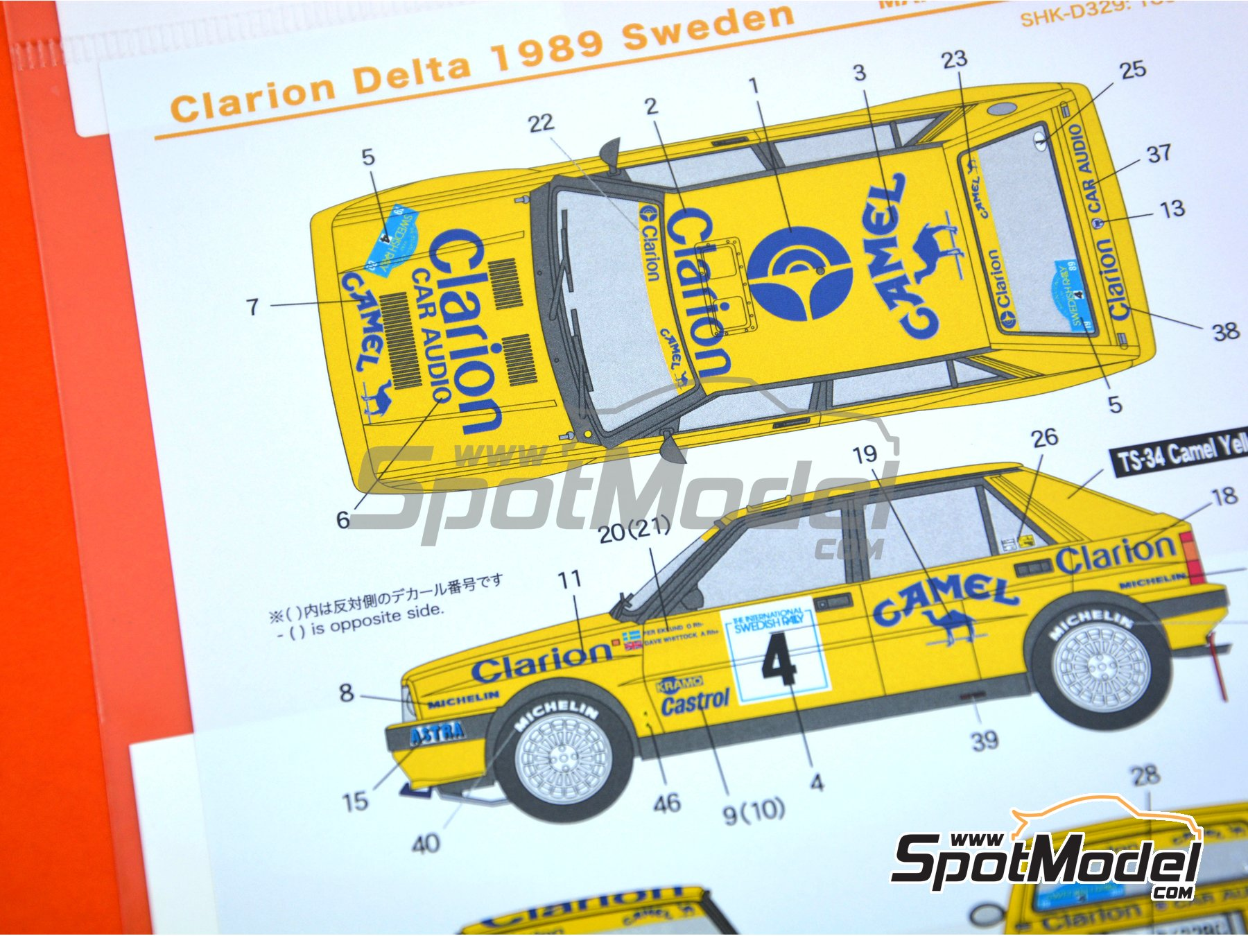 Image 5: Lancia Delta HF Integrale 16v Clarion Camel - The International Swedish Rally 1989 | Marking / livery in 1/24 scale manufactured by Shunko Models (ref. SHK-D329)