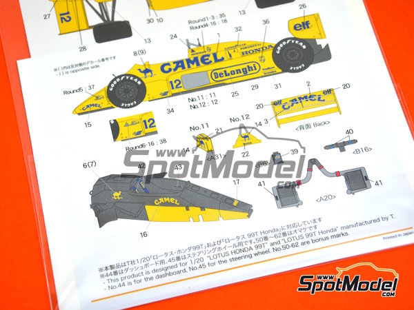Image 7: Lotus Honda 99T - FIA Formula 1 World Championship 1987 | Marking / livery in 1/20 scale manufactured by Shunko Models (ref. SHK-D330)