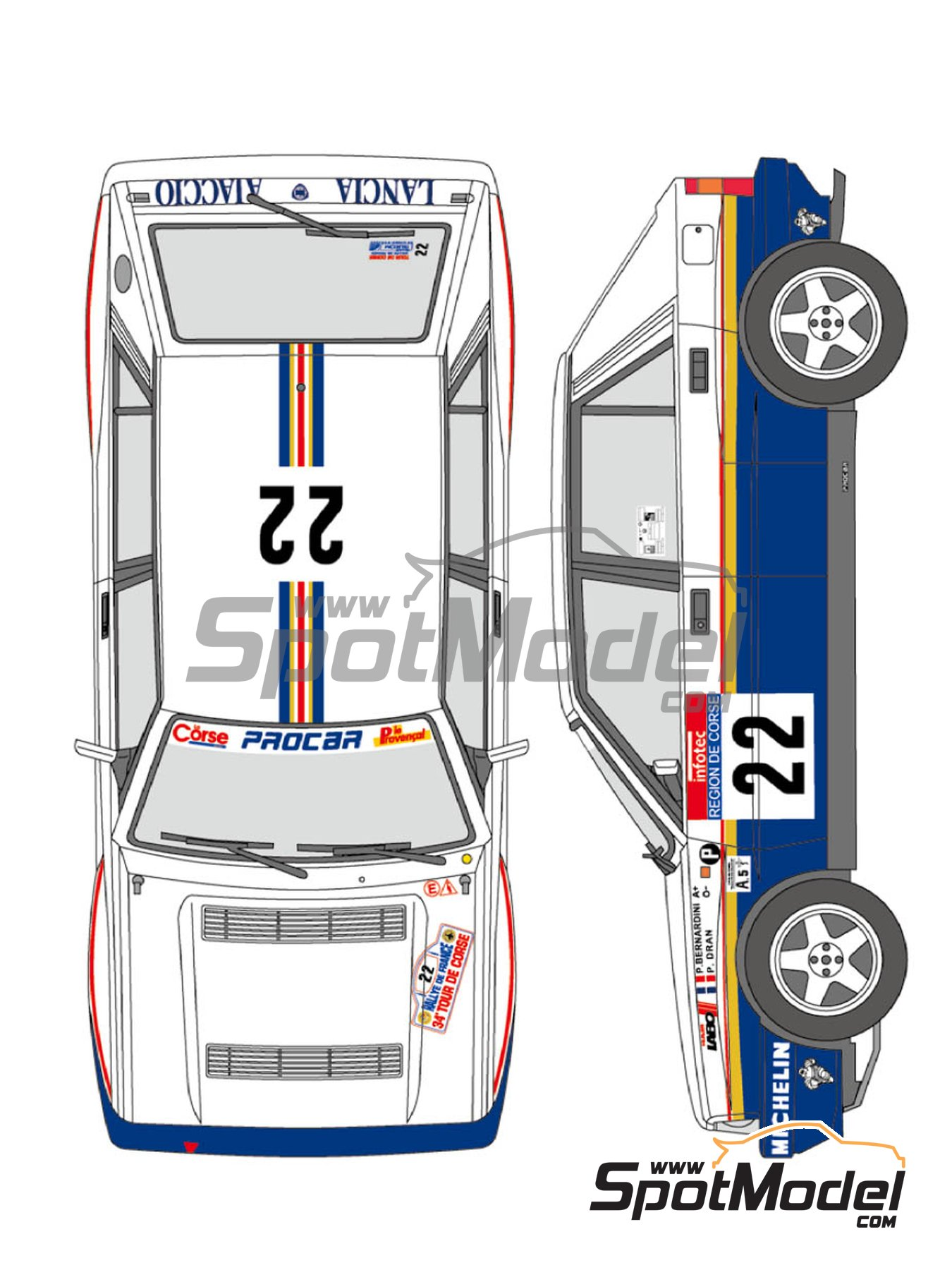 Lancia Delta HF Integrale 16v - Tour de Corse 1990 | Marking / livery in 1/24 scale manufactured by Shunko Models (ref. SHK-D334) image