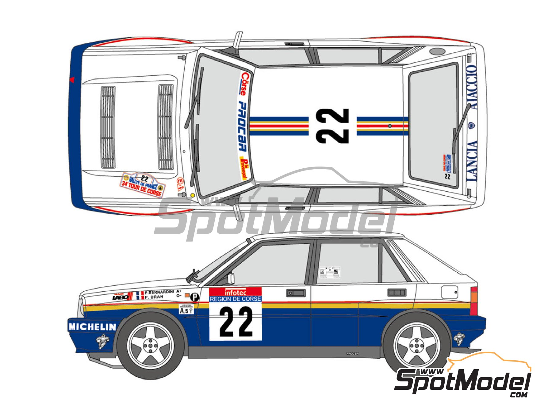 Image 1: Lancia Delta HF Integrale 16v Rothmans - Tour de Corse 1990 | Marking / livery in 1/24 scale manufactured by Shunko Models (ref. SHK-D334)