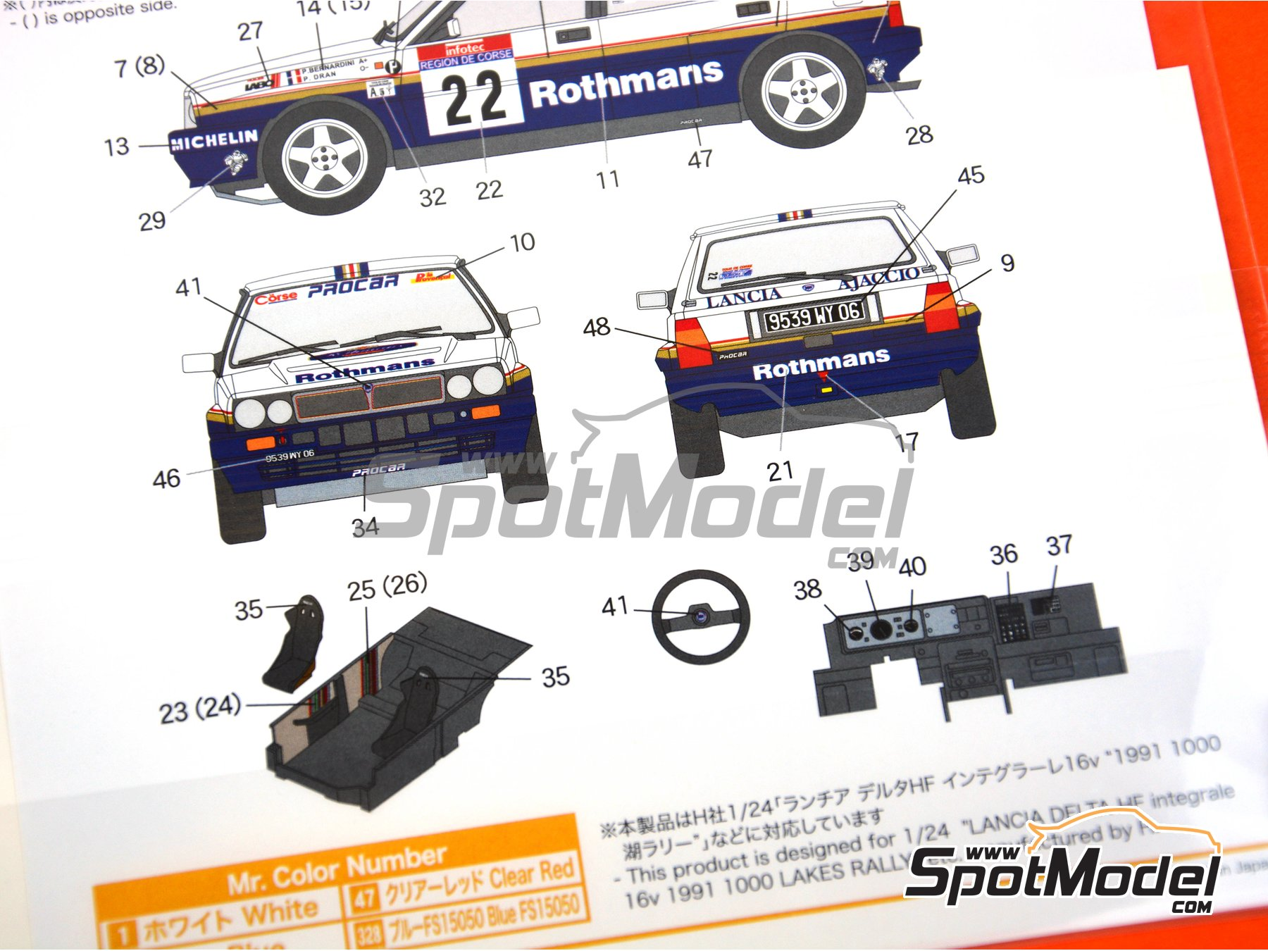 Image 3: Lancia Delta HF Integrale 16v Rothmans - Tour de Corse 1990 | Marking / livery in 1/24 scale manufactured by Shunko Models (ref. SHK-D334)