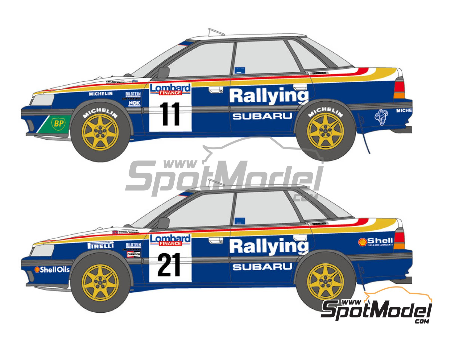 Image 1: Subaru Legacy RS Rothmans - Great Britain RAC Rally 1991 | Marking / livery in 1/24 scale manufactured by Shunko Models (ref. SHK-D335)