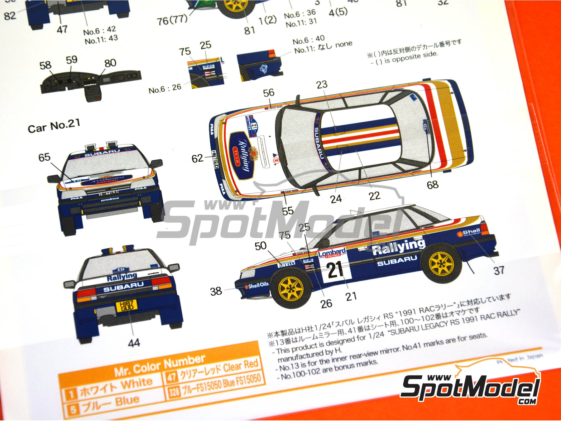 Image 6: Subaru Legacy RS Rothmans - Great Britain RAC Rally 1991 | Marking / livery in 1/24 scale manufactured by Shunko Models (ref. SHK-D335)