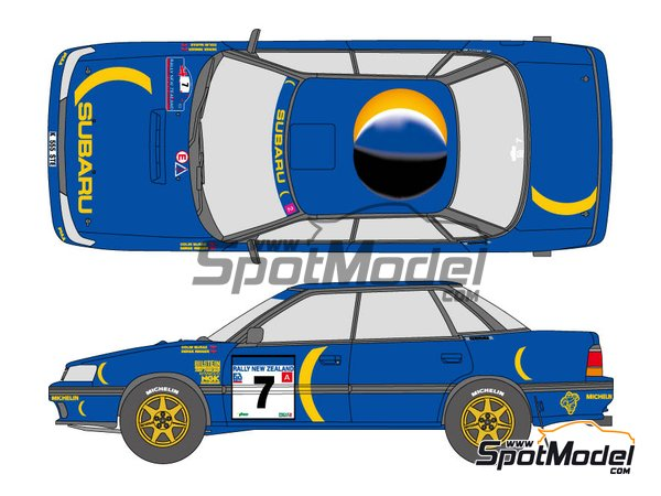 Image 1: Subaru Legacy RS 555 Subaru World Rally Team - New Zealand rally 1993 | Marking / livery in 1/24 scale manufactured by Shunko Models (ref. SHK-D337)