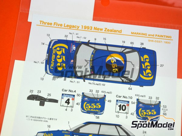Image 6: Subaru Legacy RS - New Zealand rally 1993 | Marking / livery in 1/24 scale manufactured by Shunko Models (ref. SHK-D337)