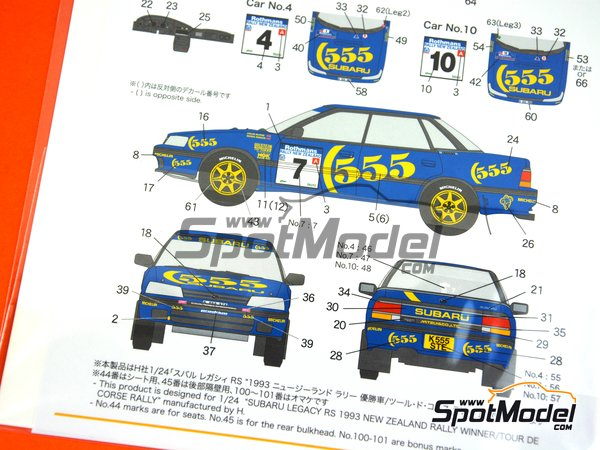 Image 7: Subaru Legacy RS - New Zealand rally 1993 | Marking / livery in 1/24 scale manufactured by Shunko Models (ref. SHK-D337)
