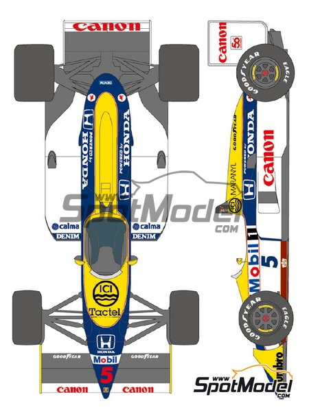 Williams Honda FW11B Canon Mobil1 - FIA Formula 1 World Championship 1987 | Marking / livery in 1/20 scale manufactured by Shunko Models (ref. SHK-D339) image