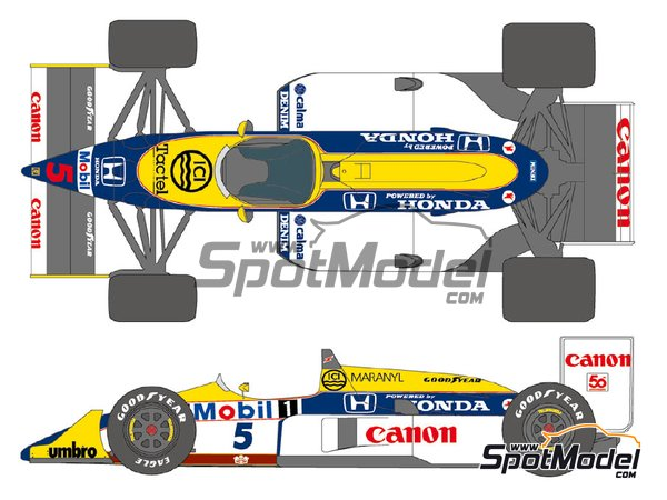 Image 2: Williams Honda FW11B Canon Mobil1 - FIA Formula 1 World Championship 1987 | Marking / livery in 1/20 scale manufactured by Shunko Models (ref. SHK-D339)