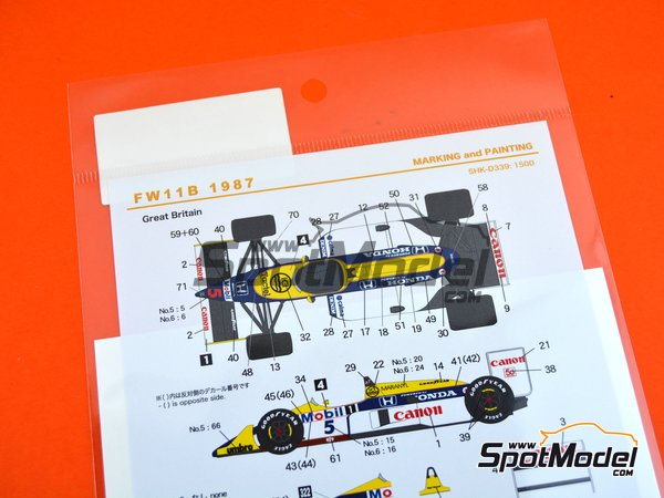 Image 3: Williams Honda FW11B Canon Mobil1 - FIA Formula 1 World Championship 1987 | Marking / livery in 1/20 scale manufactured by Shunko Models (ref. SHK-D339)