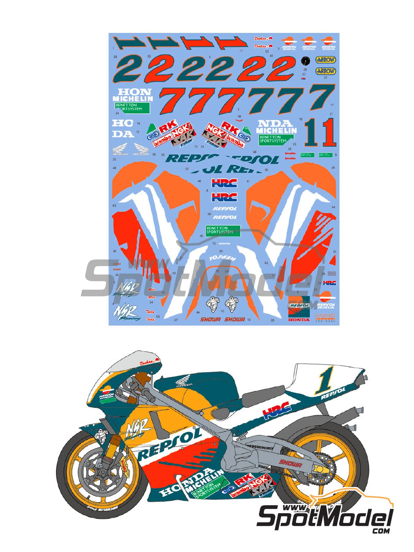 Honda NSR500 Repsol - Motorcycle World Championship 1997 | Marking / livery in 1/12 scale manufactured by Shunko Models (ref. SHK-D340) image