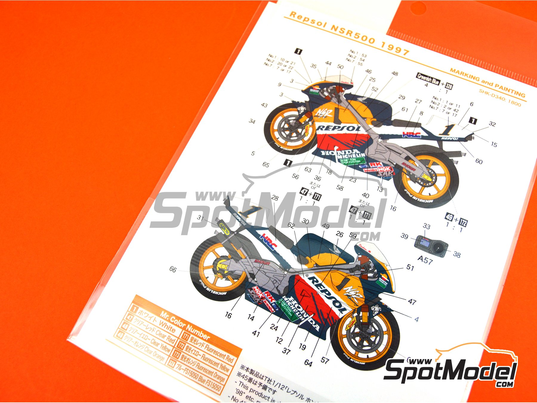 Image 4: Honda NSR500 Repsol - Motorcycle World Championship 1997 | Marking / livery in 1/12 scale manufactured by Shunko Models (ref. SHK-D340)
