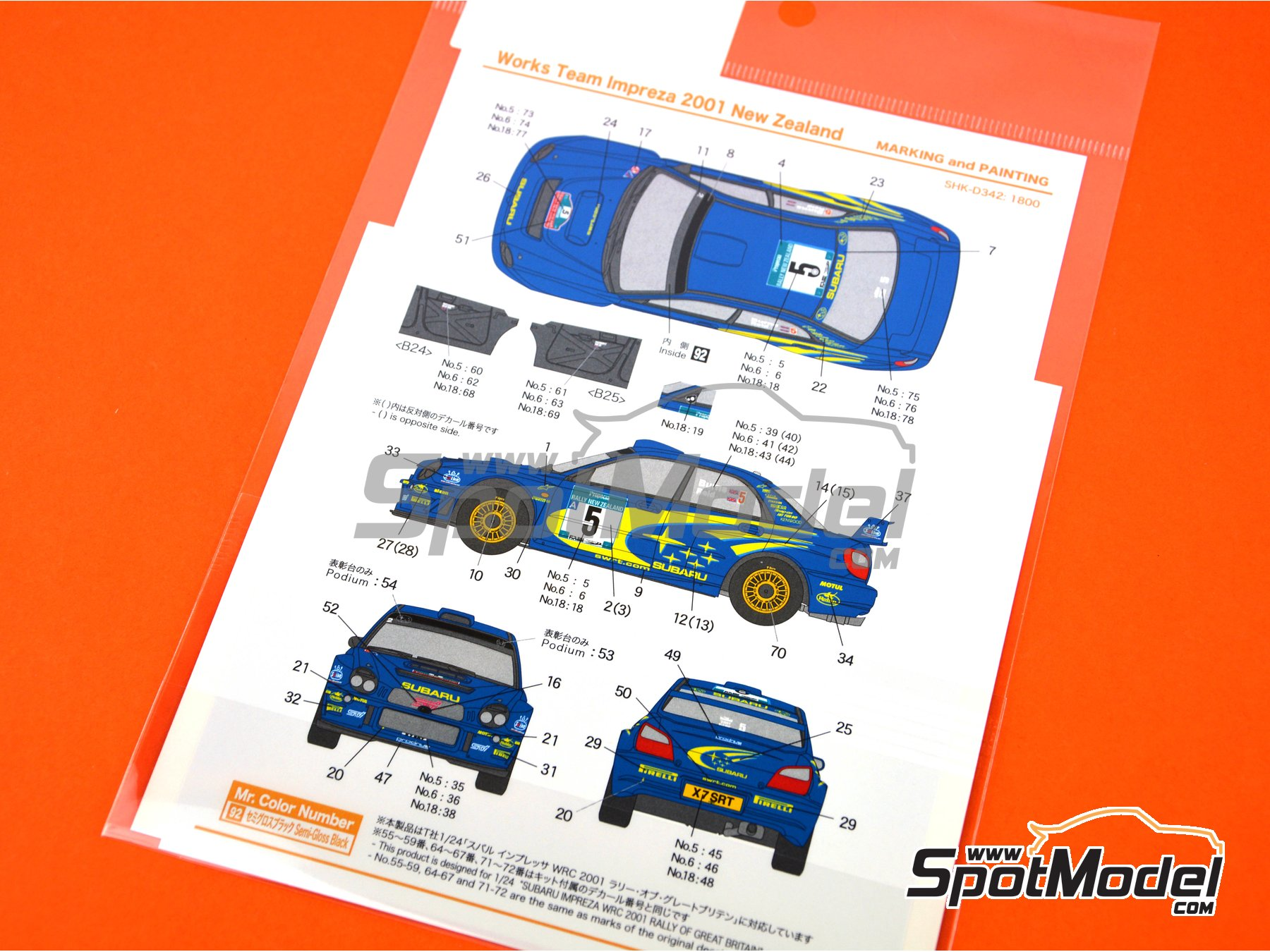 Image 3: Subaru Impreza WRC Works Team Impreza - New Zealand rally 2001 | Marking / livery in 1/24 scale manufactured by Shunko Models (ref. SHK-D342)