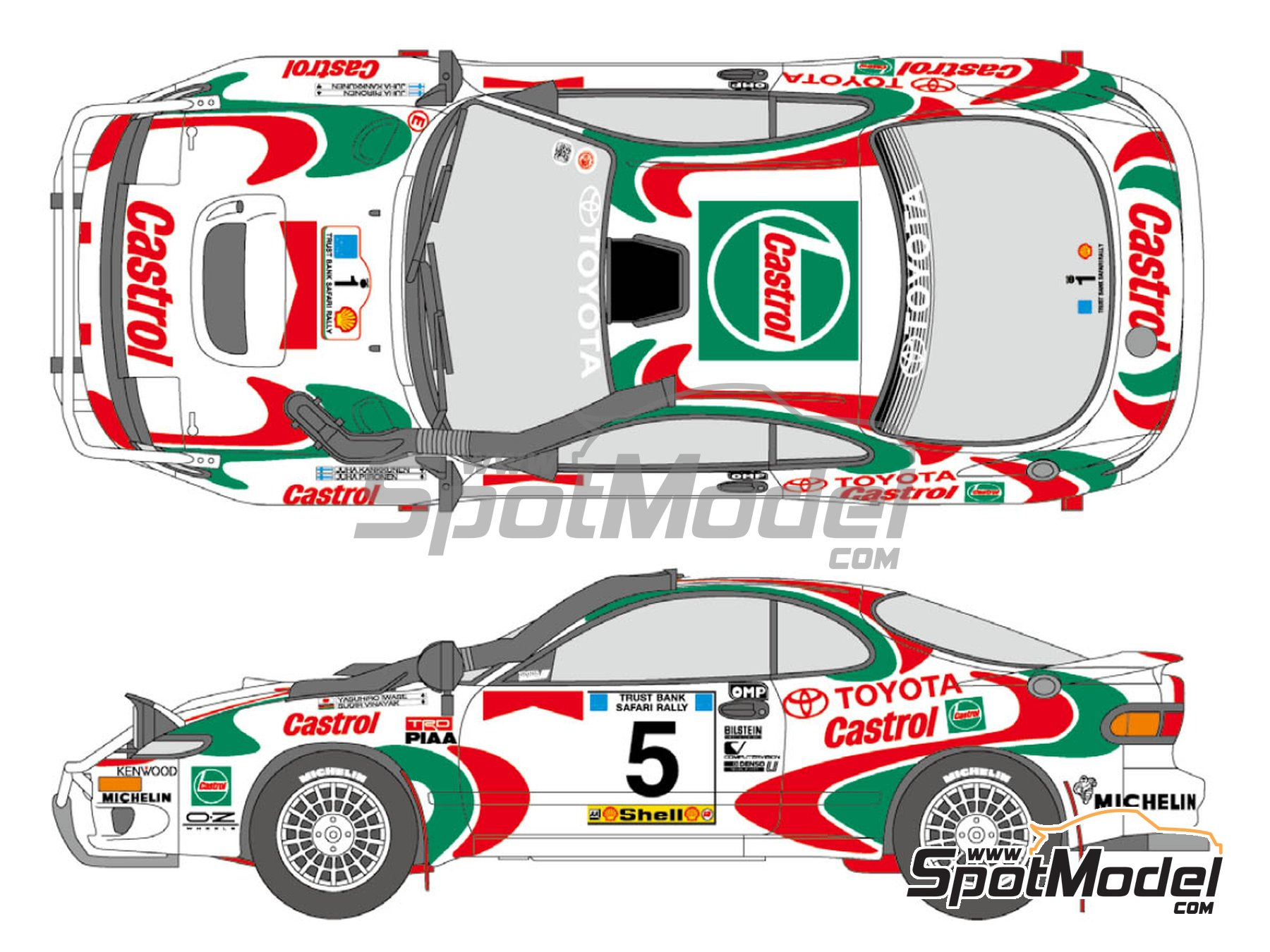 Image 1: Toyota Celica GT-Four Castrol - Safari Rally 1993 | Marking / livery in 1/24 scale manufactured by Shunko Models (ref. SHK-D345)