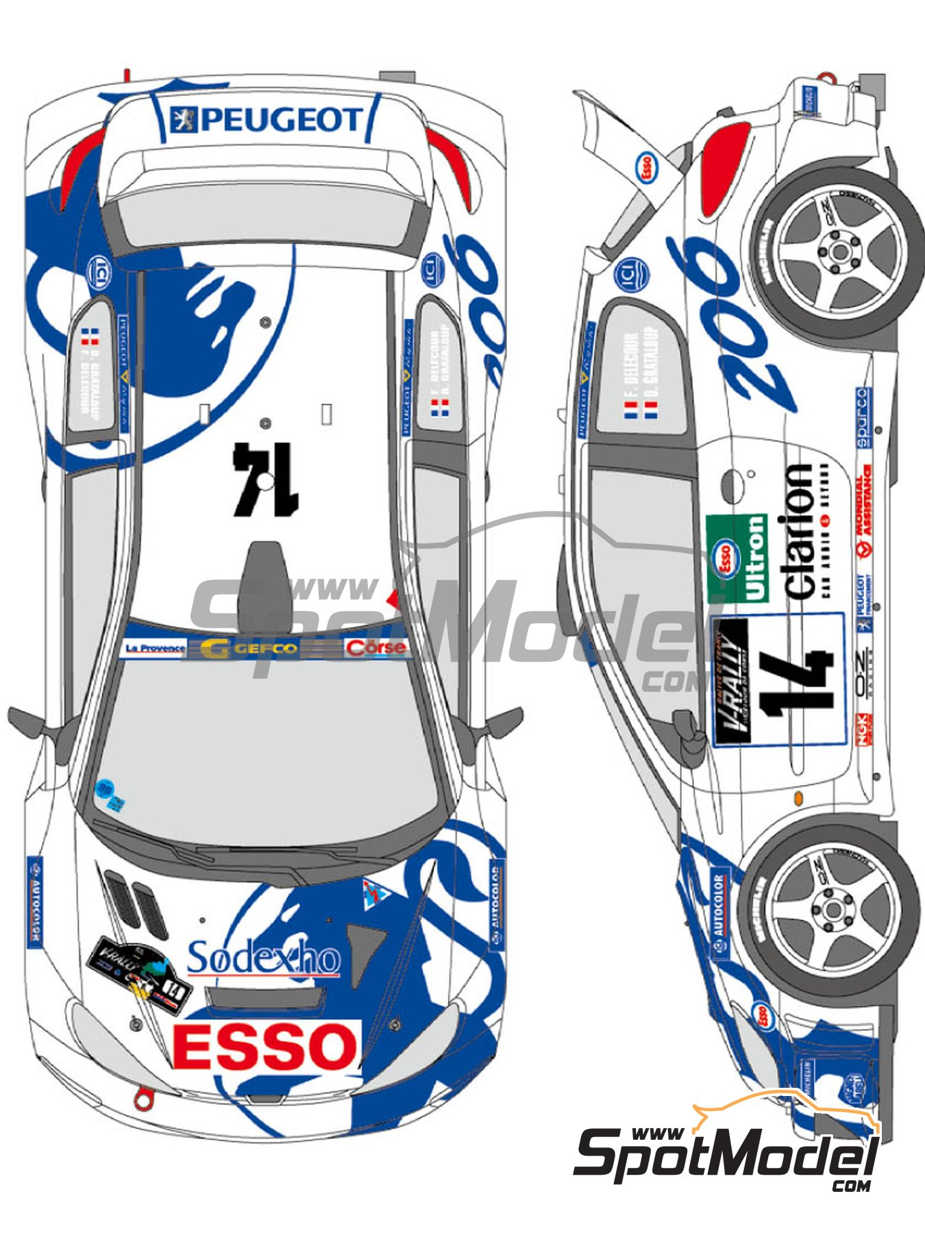 Peugeot 206 WRC Works Team - Tour de Corse 1999 | Marking / livery in 1/24 scale manufactured by Shunko Models (ref. SHK-D346) image