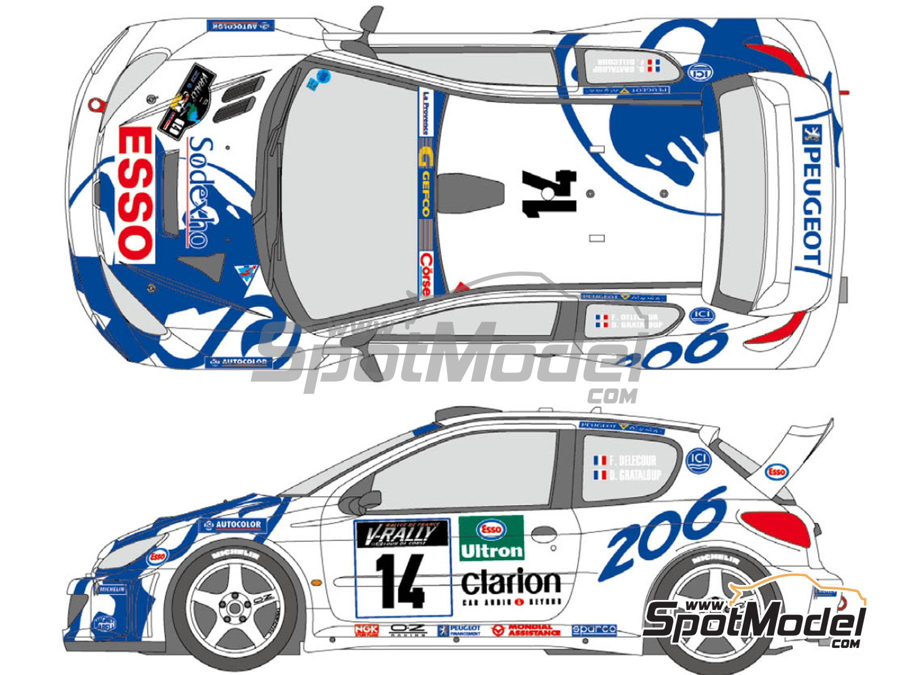 Image 1: Peugeot 206 WRC Works Team - Tour de Corse 1999 | Marking / livery in 1/24 scale manufactured by Shunko Models (ref.SHK-D346)