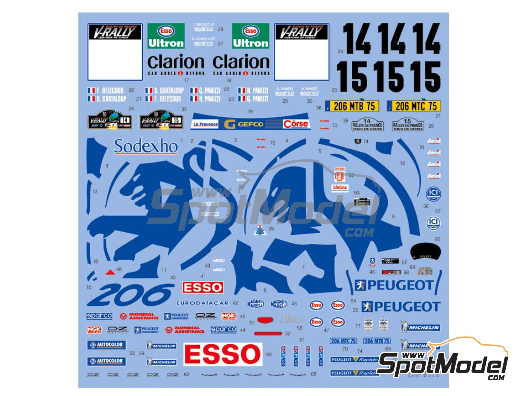 Image 2: Peugeot 206 WRC Works Team - Rally Tour de Corse 1999 | Decoración en escala1/24 fabricado por Shunko Models (ref.SHK-D346)