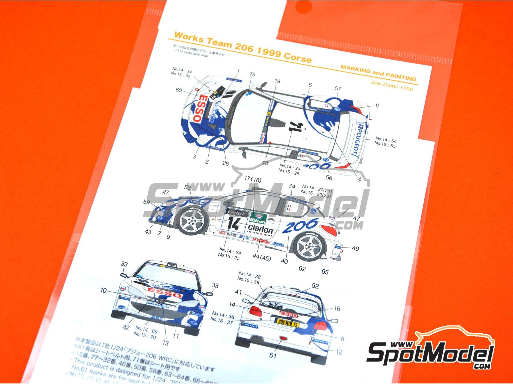 Image 5: Peugeot 206 WRC Works Team - Rally Tour de Corse 1999 | Decoración en escala1/24 fabricado por Shunko Models (ref.SHK-D346)
