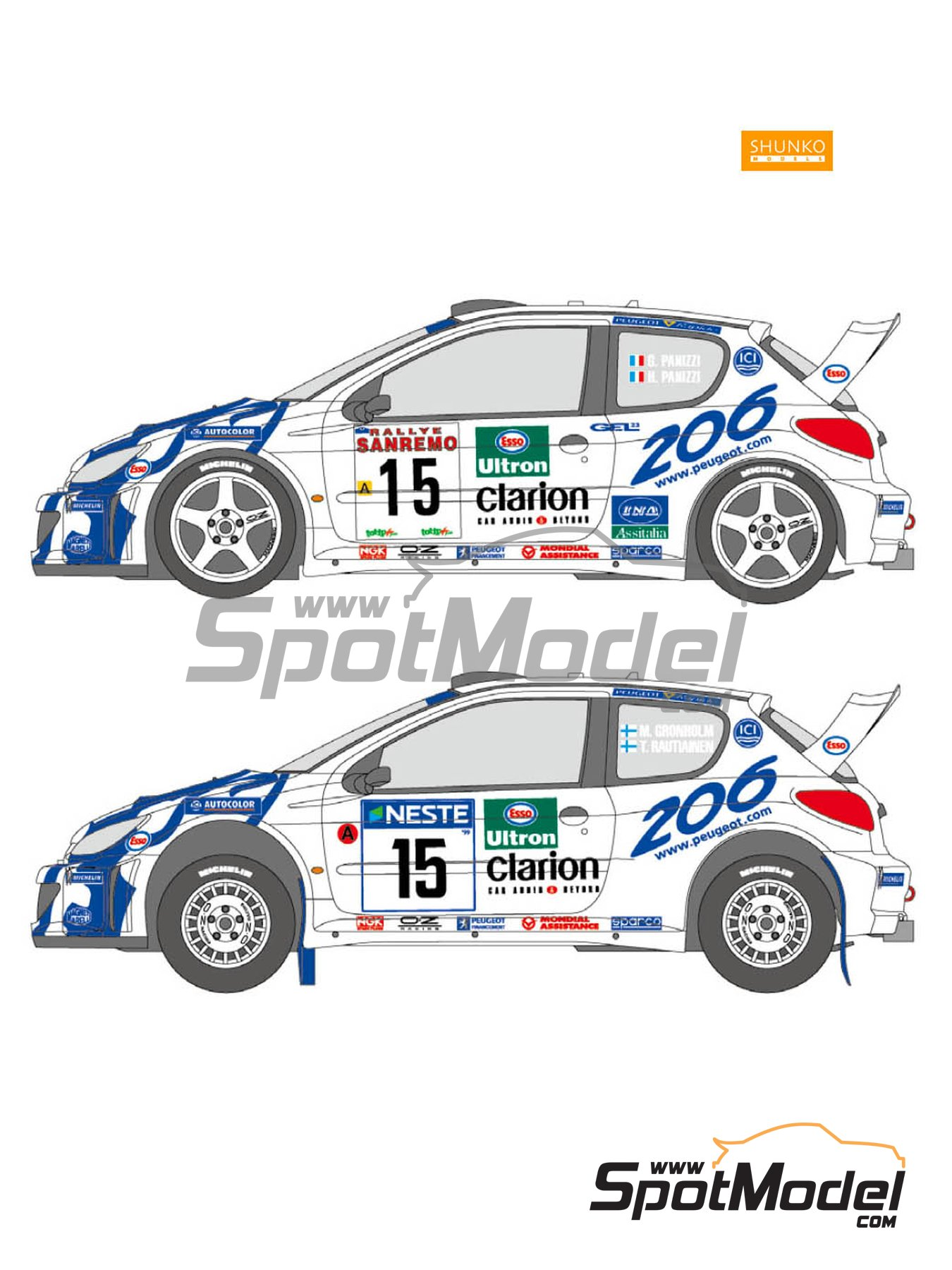 Peugeot 206 WRC Peugeot Works Team - 1000 Lakes Finland Rally, Sanremo Rally 1999 | Marking / livery in 1/24 scale manufactured by Shunko Models (ref. SHK-D347) image