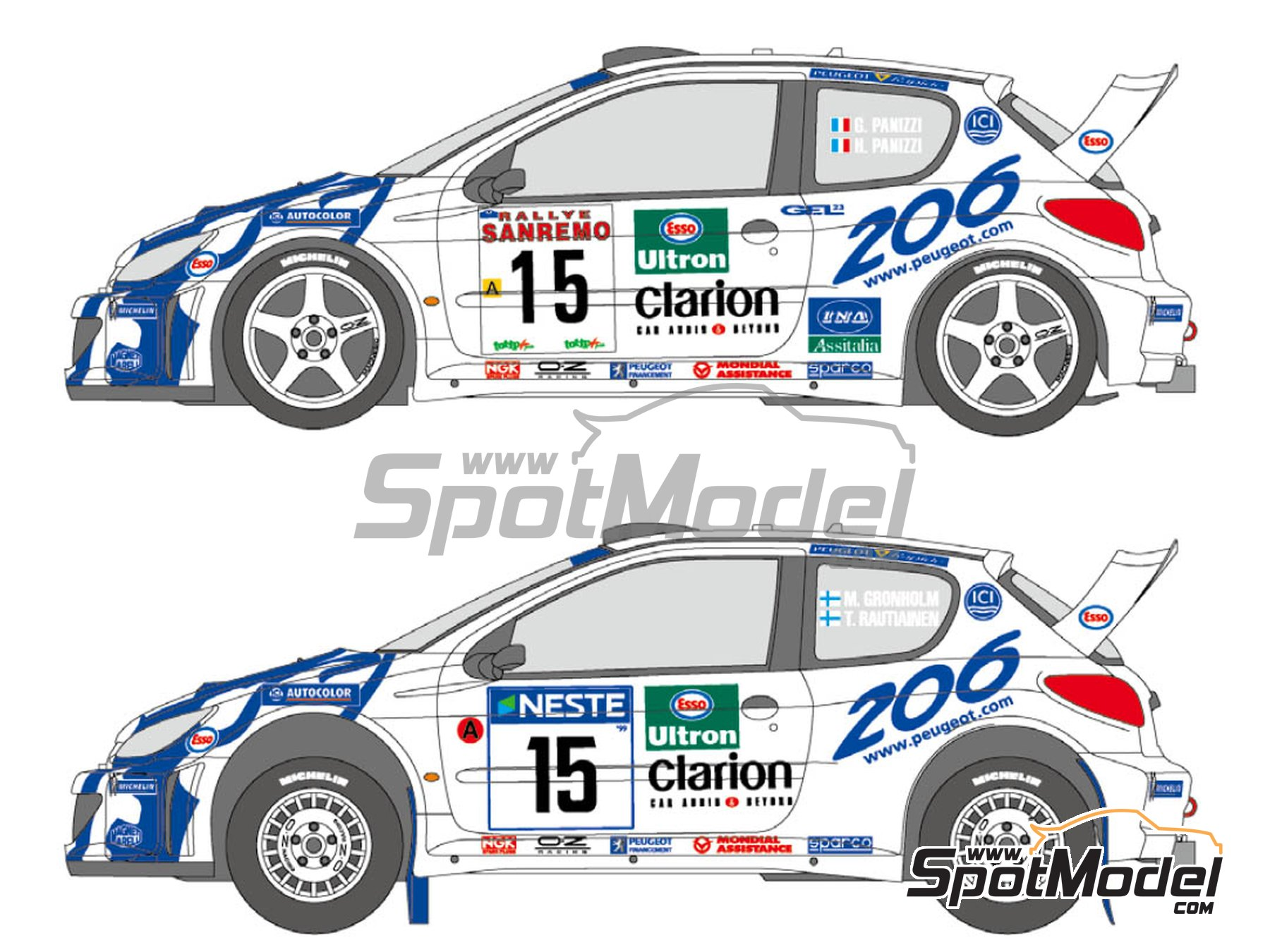 Image 1: Peugeot 206 WRC Peugeot Works Team - 1000 Lakes Finland Rally, Sanremo Rally 1999 | Marking / livery in 1/24 scale manufactured by Shunko Models (ref. SHK-D347)