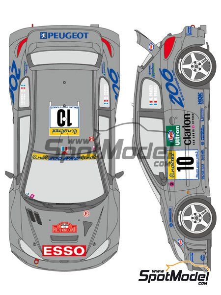 Peugeot 206 WRC Peugeot Works Team - Rally de Montecarlo 2000 | Decoración en escala1/24 fabricado por Shunko Models (ref.SHK-D348) image