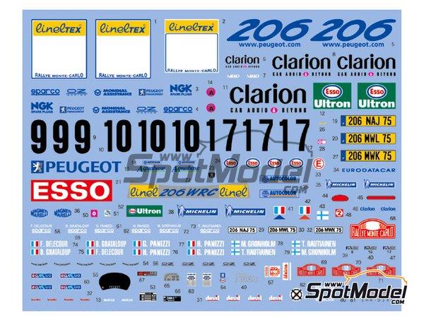 Image 1: Peugeot 206 WRC Peugeot Works Team - Rally de Montecarlo 2000 | Decoración en escala1/24 fabricado por Shunko Models (ref.SHK-D348)