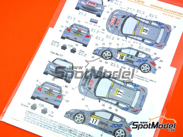Image 4: Peugeot 206 WRC Peugeot Works Team - Montecarlo Rally 2000 | Marking / livery in 1/24 scale manufactured by Shunko Models (ref.SHK-D348)