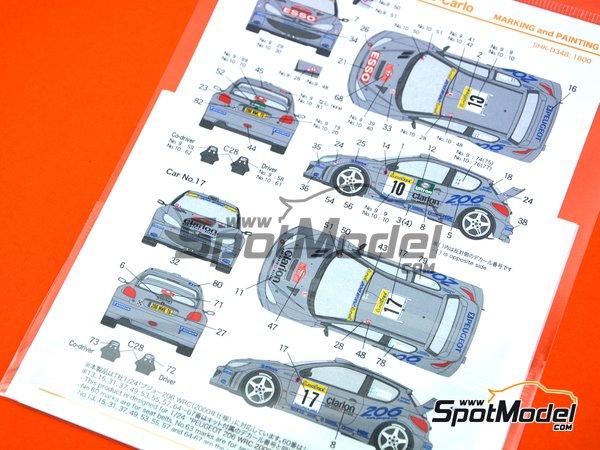 Image 4: Peugeot 206 WRC Peugeot Works Team - Rally de Montecarlo 2000 | Decoración en escala1/24 fabricado por Shunko Models (ref.SHK-D348)