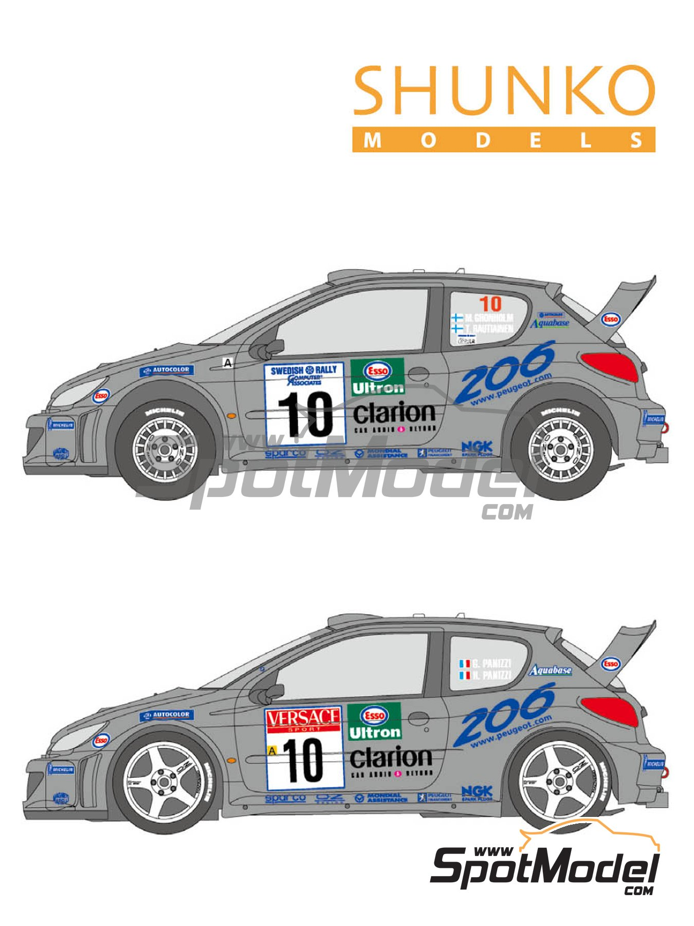 Peugeot 206 WRC Works Team - Sanremo Rally, Svezia Sweden Rally 2000 | Marking / livery in 1/24 scale manufactured by Shunko Models (ref. SHK-D349) image