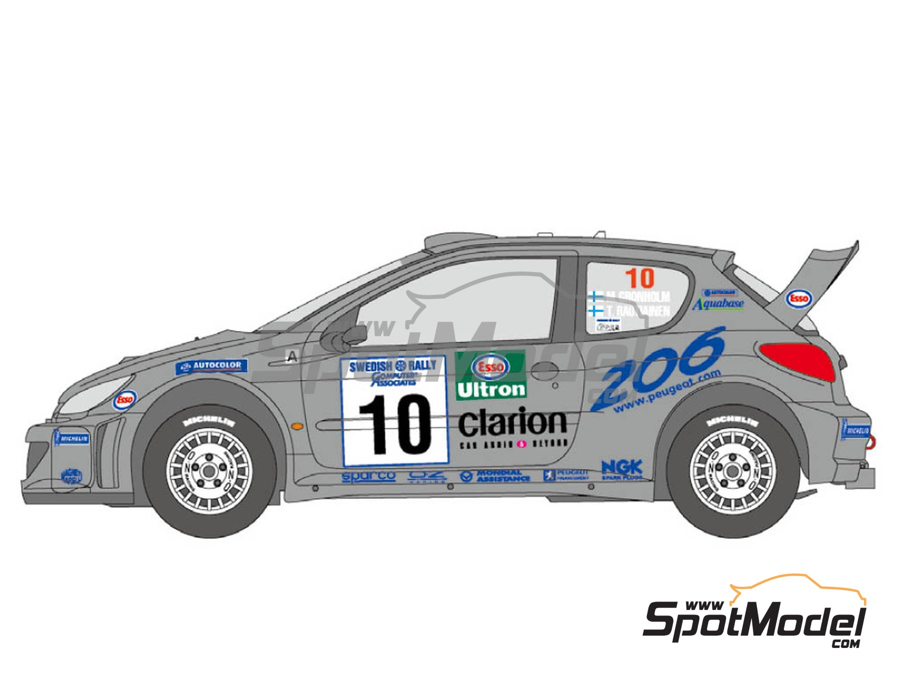 Image 2: Peugeot 206 WRC Works Team - Sanremo Rally, Svezia Sweden Rally 2000 | Marking / livery in 1/24 scale manufactured by Shunko Models (ref. SHK-D349)