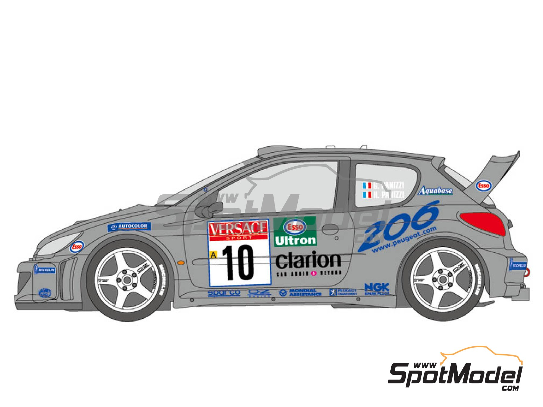 Image 3: Peugeot 206 WRC Works Team - Sanremo Rally, Svezia Sweden Rally 2000 | Marking / livery in 1/24 scale manufactured by Shunko Models (ref. SHK-D349)