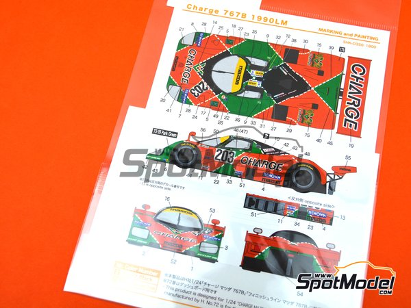 Image 6: Mazda 767B Charge - 24 Hours Le Mans 1990 | Marking / livery in 1/24 scale manufactured by Shunko Models (ref. SHK-D350)